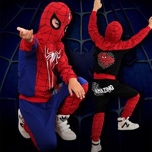 Spiderman-Jungen-Kinder-Outfit-Set-Overall-Oberteil-Kapuzenjacke-Hose-Kleidung