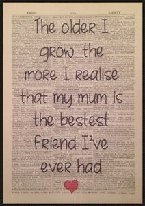 mum best friend quote print vintage dictionary page wall art picture