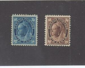 CANADA # 70-71  F-VF-MH  5,6cts  1897 QUEEN VICTORIA MAPLE LEAF ISSUES  CV $305