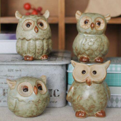 Set//4pc Small Ceramic Owl Garden Room Decor Figurine Statue Model Gift Ornament