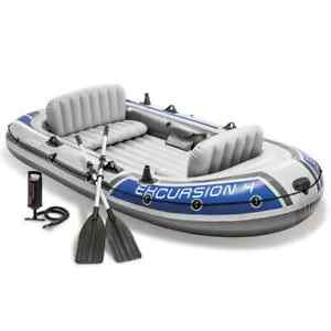 Intex Excursion 4 Set Inflatable Boat with Oars and Pump Water Boating Rafting