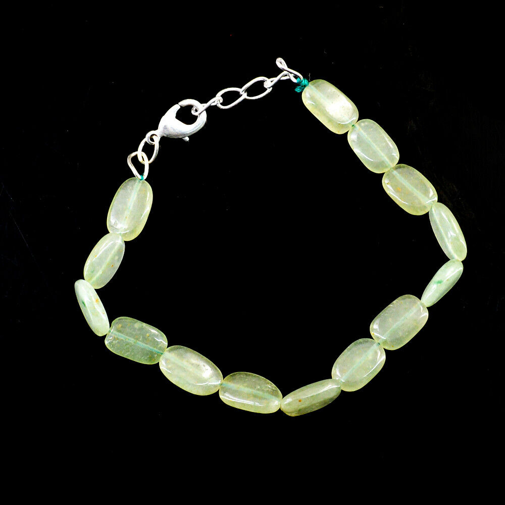 65.00 Cts Natural 7 Inches Long Green Aquamarine Beads Bracelet NK 41E52