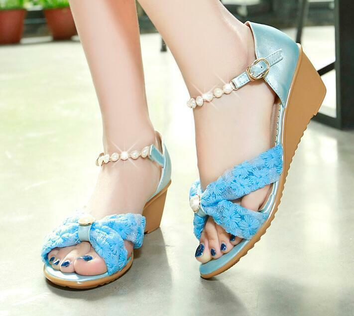 Sandals mujer open platform wedge azul 4.5 stylish comfortable 8180