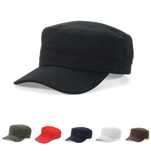 899bd640078 Classic Plain Vintage Army Military Style Cadet Hat Summer Cotton ...