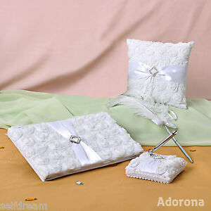 New-White-Flora-Rose-Wedding-Ceremony-Satin-Guest-Book-Pen-Ring-Pillow-GB28-bc