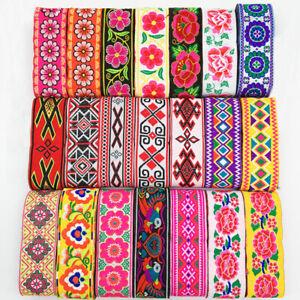 7-Yards-Vintage-Floral-Embroidered-Jacquard-Ribbon-Trim-braid-Lace-Fringe-Crafts