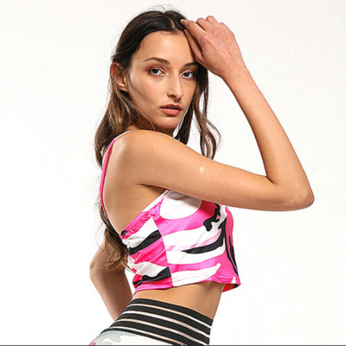 Women/'s Camouflage Soft Cotton Print Thin Strap Crop Tank Top Strap LG