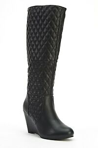 Womens-Ladies-Black-Faux-Leather-Wedge-Heel-Knee-High-Boots-Size-UK-7-8-New