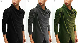 New men black grey green cowl neck long sleeve front for Haggar forever new shirts