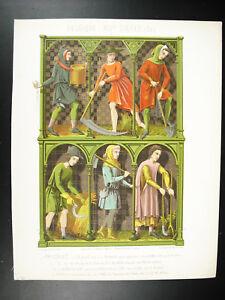 Peasants-Belgium-Psalterium-Bible-Xive-Ferdiand-Sere-Litho-Xixth-1858-Hangard