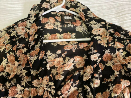 Reformation Floral Sheer Wrap Top Xs/s