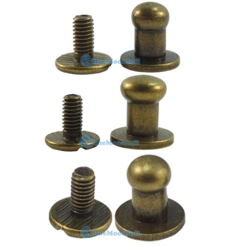 10 20 50 100 bronze tête bouton Stud Screwback Cuir VIS LAITON 5 mm 6 mm 8 mm