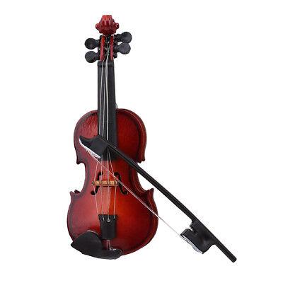 Acoustic Violin Wooden Miniature Musical Instrument Dollhouse Toy Case Decor KE
