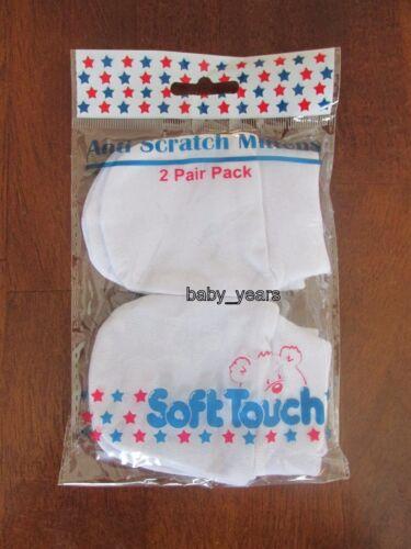 Bebé recién nacido Anti-rayadura Guantes Mitones Niños Niñas Rosa Azul Blanco Algodón Pack 2