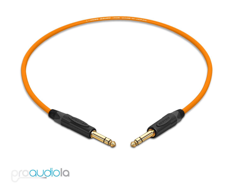 "20/' Canare L-4E6S Quad Balanced Cable Neutrik Gold 1//4/"" TRS to 1//4/"" TRS Orange"