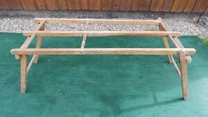 Antique Wood Wash Tub Stand Bench Rack Folds Up Ebay