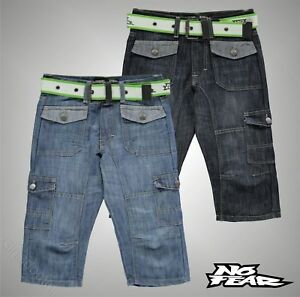 Enfants-Garcons-No-Fear-Casual-Belted-Cargo-au-dessous-du-genou-Short-en-jean-Taille-7-13-Ans