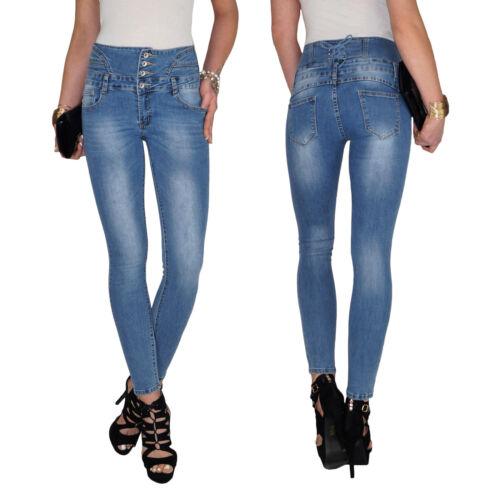Damen High Waist Stretch Corsagen Schnürung Hochschnitt Röhren Jeans Hose E50
