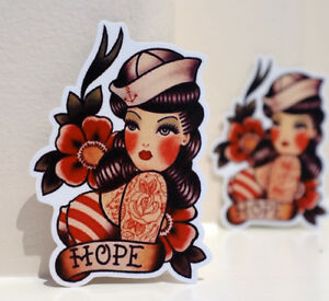4d3aab146 Navy Sailor Girl Hope Old School Vintage Tattoo Style 4