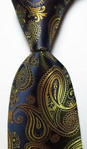 New-Classic-Paisley-Black-Gold-Blue-JACQUARD-WOVEN-100-Silk-Men-039-s-Tie-Necktie