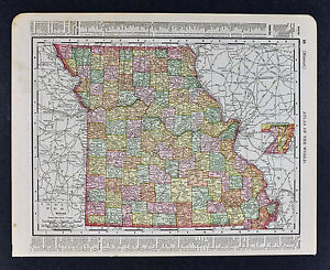 1895 Rand McNally Map - Missouri - St. Louis Jefferson Kansas City Kansas State Map By Rand Mcnally on map of all georgia cities, map of colorado and nebraska borders, map of indiana area, map tilden nebraska, map of montana, map of eastern wyoming,