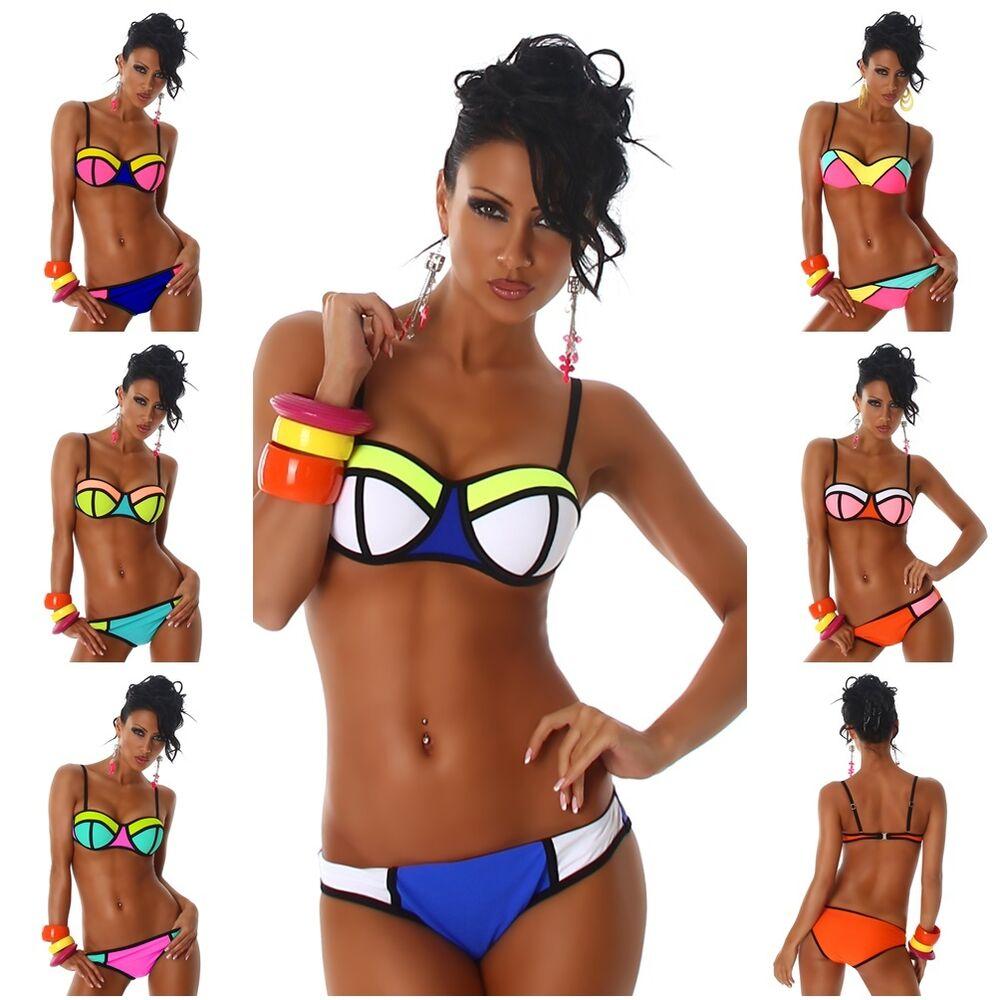 Agressif Sexy Bandeau Push Up Bikini Neoapren T 34,36,38,40 Tendance DernièRe Technologie