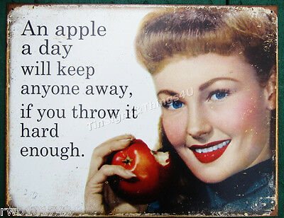 Throw an Apple a day TIN SIGN funny vtg metal poster kitchen bar home decor 1974
