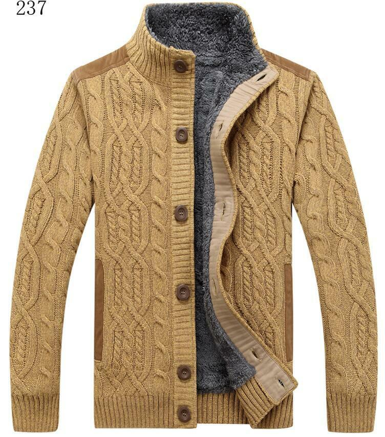 Winter Mens Button Sweater Knitted Cardigan stand collar Warm Fur Lining Coat
