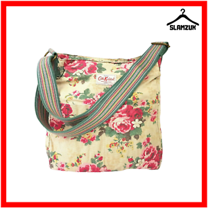 Cath-Kidston-Cross-Body-Messenger-Tote-Bag-Fabric-Cotton-Large-Beige-Floral-Y8