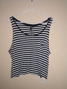 Cotton-On-Women-039-s-Dark-Blue-amp-White-Striped-Racer-Back-Crop-Singlet-Top-Sz-L