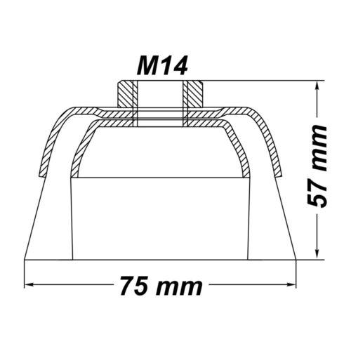 Topfbürste Drahtbürste Bürste Ø 75 mm gewellt M14 für Winkelschleifer