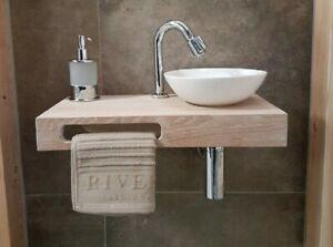 Mensola Sospesa per Lavabo Design in Rovere massello, arredo bagno, salva spazio