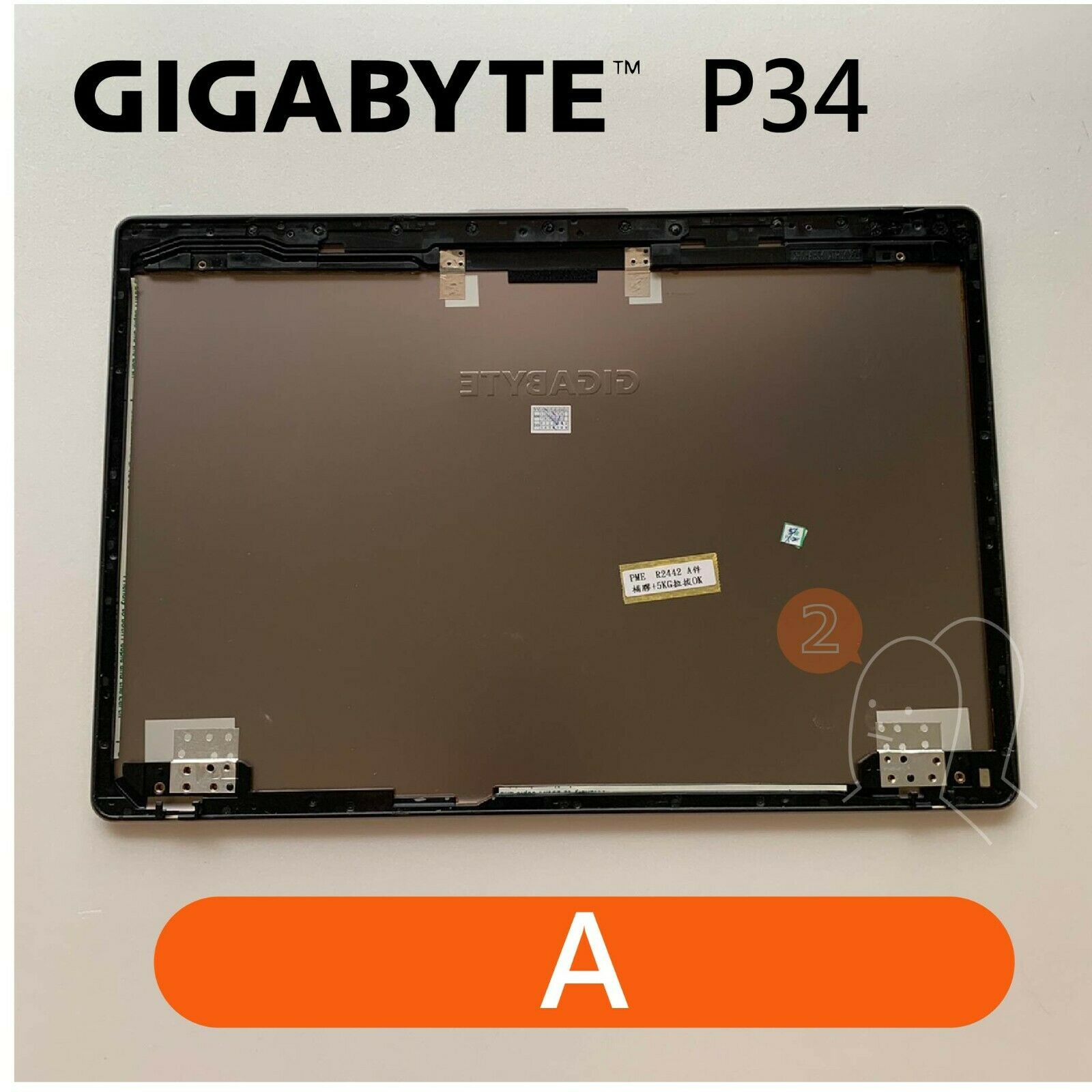 【2p3c】Replacement for GIGABYTE P34 Laptop LCD Cover : A(Rear Top Lid Back Cover)