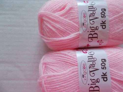 King Cole Big Value DK yarn 158 yds each lot of 2 pink Marshmallow