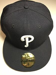 NEW ERA PHILADELPHIA PHILLIES NAVY WITH WHITE P FLAT BRIM CUSTOM ... 1ca862a7bdf