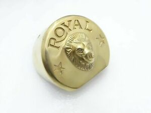 NUEVO-ROYAL-ENFIELD-UCE-ELECTRA-BRASS-STARTER-MOTOR-COVER-LION-FACE