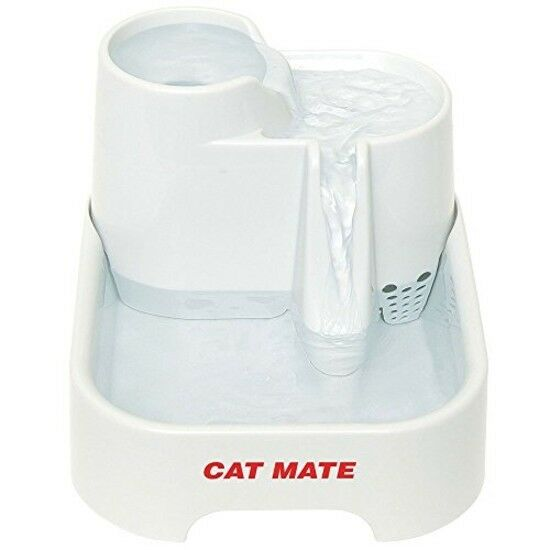 Cat Mate Pet Drinking Fountain Small Dog Water Bowl Drinkwell 70 Fluid Oz. bianca