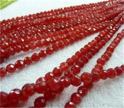 """4 mm Faceted Red Ruby Round Loose Beads Gemstone 15/"""" # ZY351"""