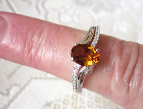 925 Sterling Silver Golden Citrine /& White Zircon Ring size 6 1.24cts