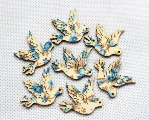 """1043G Lot of 10 Wood Floral DOVE Tags Trims 1-3//16/"""" x 1-3//8/"""" Scrapbook Craft"""
