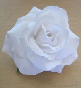 Large 5 Bright White Rose Silk Flower Hair Clip Wedding Prom