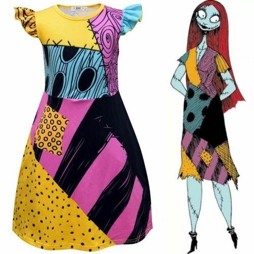 The Nightmare Before Christmas Sally Cosplay Dress Witch Ghost Costume Halloween