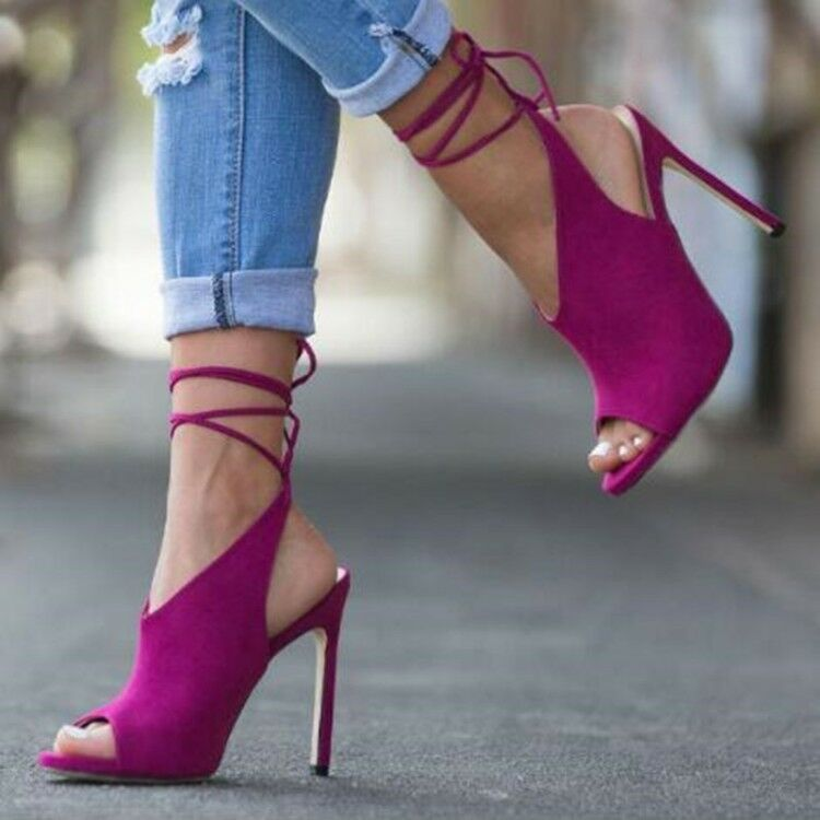 Women's Strappy High Heels Pumps Suede Fashion Lace Up Peep Toe Sandals shoes