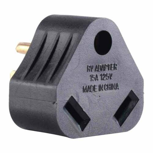 RV Adapter 15 Amp Male to 30 Amp Female Connector Plug Camper Motorhome Triangle