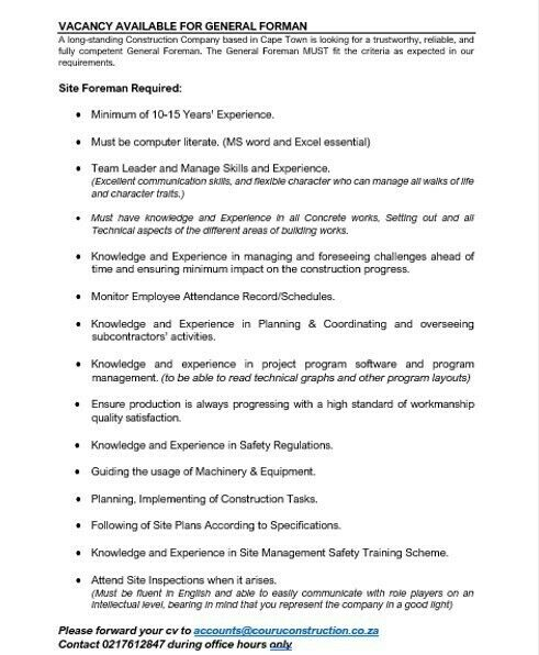 Vacancy for General Foreman