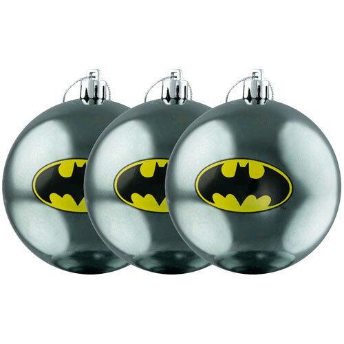 Batman Logo Christmas Bauble Ornament 3-Pack NEW xmas tree baubles ornaments