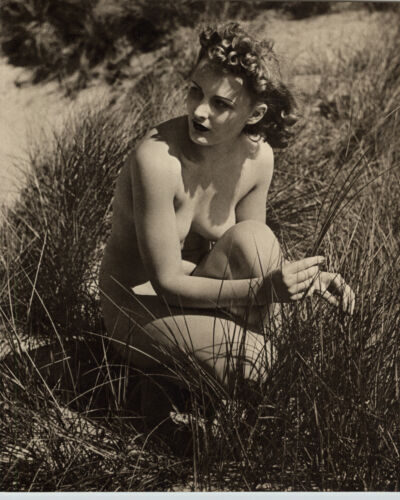 1940 Original FEMALE OUTDOOR NUDE Woman Body FIELD GRASS JOHN EVERARD PHOTO