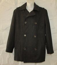 Gray Wool Mix DUNNES Button Epaulets Hip Length Formal Winter Coat Jacket Size M