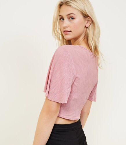 NEW LOOK Pink Knot Front Crepe Crop Top UK Sizes 6-10-12-14-16