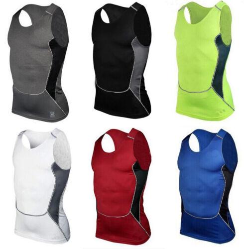 Men/'s Compression T-Shirts Vest Tank Fitness Sports Workout Base Layer Gym Tops